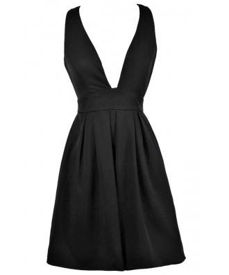 Little Black Dress, Black Plunging Neckline Dress, Black Cocktail Dress, Black Party Dress, Black A-line Dress, Black Plunging Neckline Party Dress