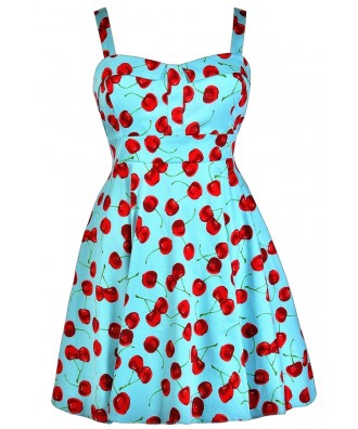 Cherry Plus Size Dress, Cute Plus Size Dress, Plus Size Sundress, Plus Size Retro Dress, Plus Size Summer Dress, Plus Size A-Line Dress
