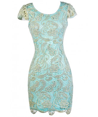 Aqua and Gold Lace Dress, Aqua Capsleeve Lace Dress, Aqua Lace Pencil Dress, Sky Blue Lace Pencil Dress, Pale Blue and Gold Lace Pencil Dress, Blue and Gold Lace Dress