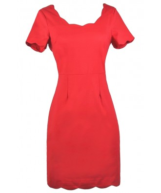 Cute Red Dress, Red Pencil Dress, Red Dress Boutique Dress, Red Party Dress