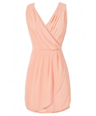 Peach Chiffon Party Dress, Peach Tulip Skirt Dress, Cute Juniors Dress