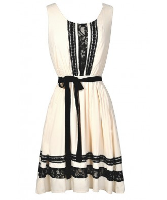 Black and Ivory Lace Trim Dress, Cute Black and Ivory Summer Dress, Black and Ivory Juniors Dress