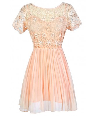 Peach Lace Dress, Cute Peach Dress, Peach Summer Dress, Peach Crochet Lace Dress, Peach Bridesmaid Dress, Peach Crochet Lace Dress, Peach Lace and Chiffon Dress