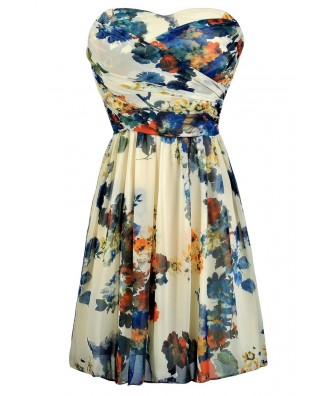 Blue and Ivory Floral Dress, Cute Blue and Ivory Dress, Floral Print Strapless Dress, Blue and Ivory Floral Summer Dress, Blue and Ivory Dress, Blue Floral Print Sundress