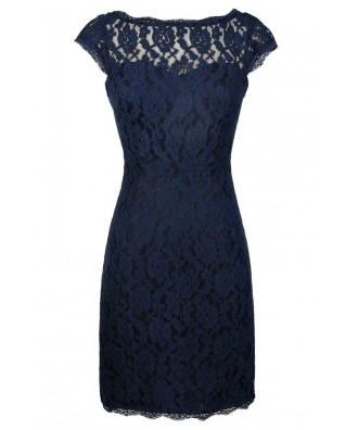 Navy Lace Dress, Navy Lace Pencil Dress, Cute Navy Lace Dress, Navy Lace Bridesmaid Dress, Navy Lace Fitted Dress