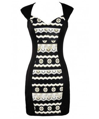 Cute Black and Gold Dress, Black and Gold Pencil Dress, Black and Gold Pattern Dress