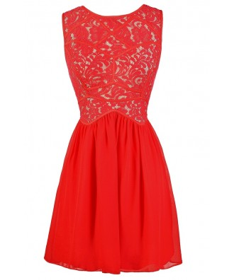 red lace dress, cute red dress, red lace bridesmaid dress, red lace party dress, red lace a-line dress