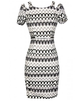 Black and White Dress, Missoni Style Dress, Black and White Missoni Style Dress, Black and White Chevron Dress, Black and White Wave Pattern Dress, Cute Black and White Dress