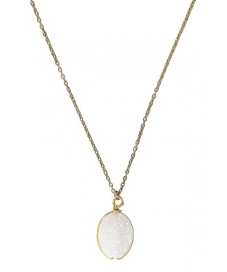 Ivory Stone Necklace, Unfinished Mineral Necklace, Unfinished Stone Necklace, Rough Stone Necklace, Rough Mineral Necklace, Cute Necklace, Cute Jewelry, Ivory and Gold Necklace, Ivory and Gold Oval Necklace