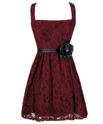 Burgundy Lace Dress, Red Lace Dress, Cute Lace Dress, Cute Holiday Dress, Cute Christmas Dress, Burgundy Lace A-Line Dress, Burgundy Lace Party Dress