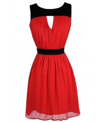 Cute Black and Red Dress, Black and Red Colorblock Dress, Black and Red A-Line Dress, Black and Red Cutout Dress, Black and Red Party Dress
