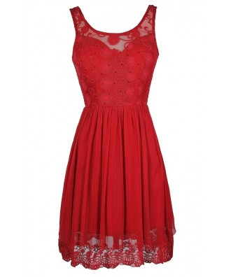 Cute Red Dress, Red A-Line Dress, Red Embroidered Dress, Red Bridesmaid Dress, Cute Bridesmaid Dress, Red Party Dress, Red Cocktail Dress, Red Sundress