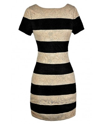 Black and Beige Lace Dress, Black and Beige Stripe Dress, Black and Beige Lace Stripe Dress, Cute Black and Beige Dress, Black and Beige Pencil Dress, Black and Beige Work Dress, Cute Work Dress, Lace Pencil Dress