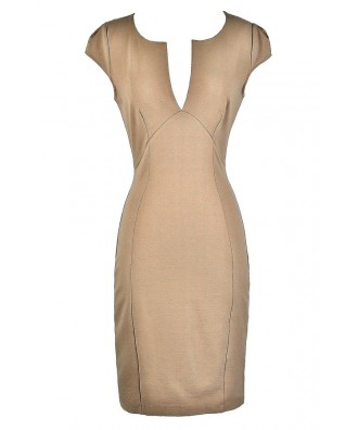 Cute Beige Dress, Beige Pencil Dress, Beige Capsleeve Dress, Beige Fitted Dress, Beige Capsleeve Pencil Dress, Cute Beige Dress, Beige Cocktail Dress, Beige Party Dress
