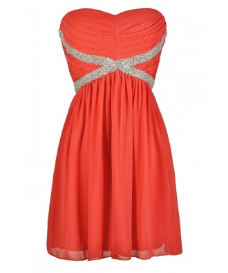 Cute Coral Dress, Coral Party Dress, Coral Cocktail Dress, Coral Beaded Dress, Coral Embellished Dress, Coral Prom Dress, Coral Chiffon Dress