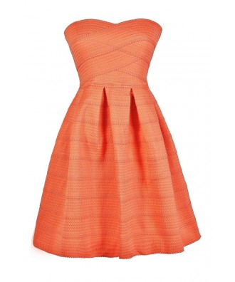 Cute Coral Dress, Coral Party Dress, Coral Cocktail Dress, Coral Bridesmaid Dress, Coral Strapless Dress, Cute Summer Dress, Cute Party Dress, Coral Summer Dress