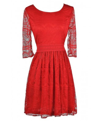 Cute Red Dress, Red Lace Dress, Red Lace Party Dress, Red Lace Cocktail Dress, Red Lace Summer Dress, Red Lace A-Line Dress
