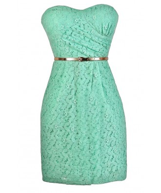 Mint Lace Bridesmaid Dress, Mint Lace Dress, Mint Lace Cocktail Dress, Mint Lace Party Dress, Mint Lace Belted Dress, Strapless Mint Dress, Mint Summer Dress