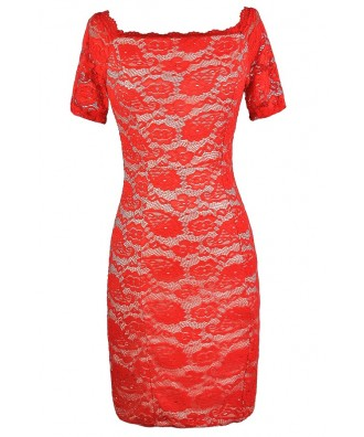 Red Lace Dress, Red Orange Lace Dress, Cute Red Lace Dress, Red Lace Off Shoulder Dress, Red Lace Pencil Dress, Red Lace Bodycon Dress, Red Lace Fitted Dress