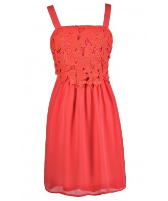 Coral Lace Dress, Coral A-Line Dress, Coral Party Dress, Coral Cocktail Dress, Coral Bridesmaid Dress, Coral Summer Dress