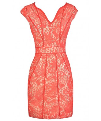 Coral Pink Lace Dress, Coral Pink Party Dress, Coral Pink Pencil Dress, Lace Pencil Dress, Coral Pink Lace Pencil Dress, Coral Pink Lace Summer Dress, Cute Lace Summer Dress