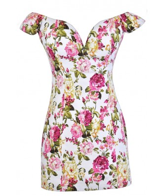 Pink and White Floral Print Dress, Pink and Ivory Floral Print Dress, Pink and White Floral Party Dress, Pink and White Floral Cocktail Dress